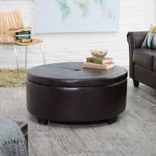 round leather coffee table belham living corbett round coffee table storage ottoman hayneedle