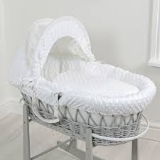 4baby deluxe padded grey wicker moses basket white dimple buy