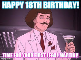 18th Birthday Memes - happy 18th birthday time for your first legal martini happy