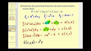 determining the potential function of a conservative vector field