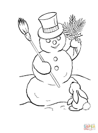 snowman hat rabbit coloring free printable coloring
