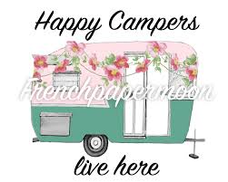 Retro Camper Vintage Camper Happy Camper Floral Camper Digital Pillow