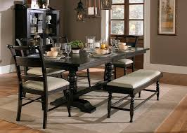Iron Base Dining Table Trestle Table With Solids Rubberwood And Black Cherry Finish