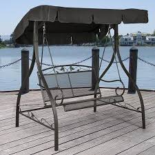 outdoor porch swing deck furniture with adjustable canopy awning