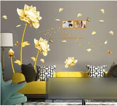 home decor wall art stickers home decor wall art stickers golden flowers tulip decals set