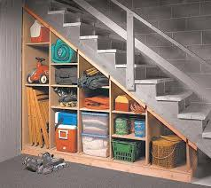 Wood Shelves Build by Storage For Under The Basement Stairs Folding Chairs Cooler