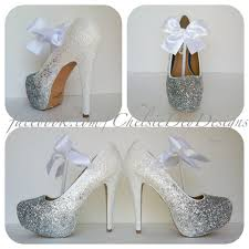 wedding shoes glitter white glitter high heels silver iridescent ombre platform pumps