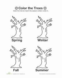 color the trees worksheet education com