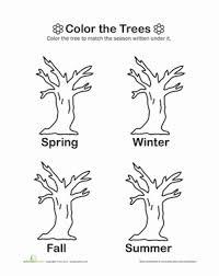 Kindergarten Weather Worksheets Color The Trees Worksheet Education Com