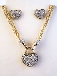 jewelry heart necklace images Designer 39 s touch diamond heart pendant necklace earrings jewelry set jpg