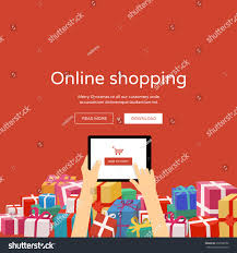 online shopping christmas gifts around man stock vector 230566552