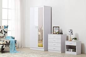 ossotto mirrored high gloss 3 piece bedroom furniture set soft