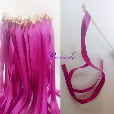 ribbon wands 50pcs lot fuschia wedding ribbon wands wedding stick with gold