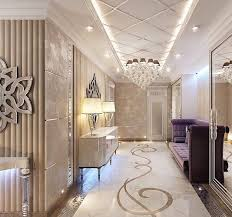 Luxurious Interior by White Pop Ceiling Design And White Back Floral Wall Design And