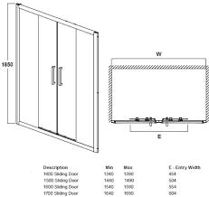 1500 x 760 aquasata double sliding shower enclosure