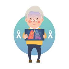 senior lung cancer ribbon stock vector illustration of