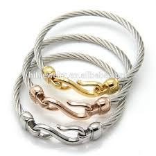 stainless steel bracelet bangle images Latest hook bracelet twisted cable wire bangle stainless steel jpg