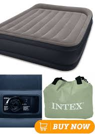 intex pillow rest raised airbed with built in pillow and electric