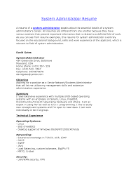 Sample Resume Format Usa by Download Linux System Engineer Sample Resume