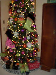 from halloween tree with orange pink purple lime green and