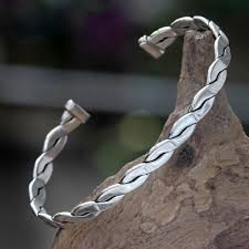 man lucky bracelet images Handcrafted balinese silver cuff bracelet for men surging surf jpg