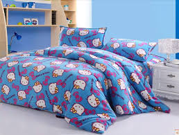 blue flannel hello kitty bedding set with white nightstand for