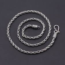 silver solid necklace images Solid 925 sterling silver chain necklace men twisted link weave jpg