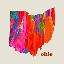 Ohio State Map by Vibrant Colorful Ohio State Map Painting Mixed Media By Design