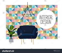 vector interior design illustration trendy modern stock vector