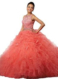 quinceanera dresses coral angela women s lace crop top 2 quinceanera dress