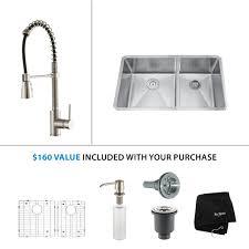 stainless steel kitchen sink combination kraususa com kraus 33 inch undermount 60 40 double bowl 16 gauge stainless steel kitchen sink with