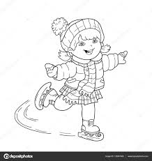 coloring page outline of cartoon skating winter sports