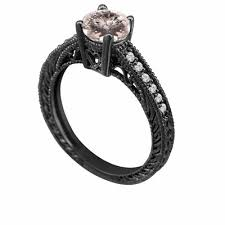 birthstone engagement rings engagement ring vintage style 14k black gold 0 62 carat