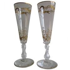 19th century pair of gilded champagne flutes or wine glasses