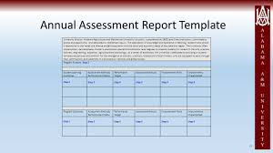 self evaluation report template annual outcomes assessment report workshop academic programs 48 annual assessment report template university mission alabama agricultural and mechanical university is a public