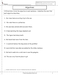 Resume Examples Zoo by Adjectives Worksheet Grade 1 With Reference With Adjectives