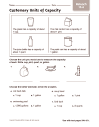 cup pint quart gallon worksheet customary units of capacity reteach 2nd 3rd grade worksheet