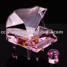 Wine Glass Gifts Beautiful Crystal Music Box Crystal Glass Grand Piano For