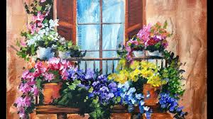 flowers in the window on a balcony beginner acrylic painting