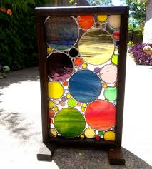 stained glass panel geometric abstract art framed stained