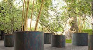 stainless steel planter round contemporary shield by