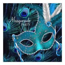 peacock masquerade masks teal blue peacock mask masquerade party card zazzle