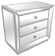 Nightstands With Mirrored Drawers Silver Mirrored Glass Bedroom 3 Drawer Nightstand Contemporary