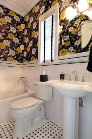 chair rail tile bathroom eclectic with yellow tile wainscoting