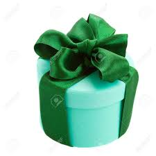 green gift bow green gift box with bow isolated on white background stock photo
