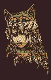 patterned wolf headdress 11x17 signed print on storenvy