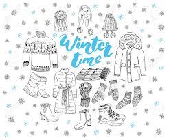 winter season set doodle elements hand drawn sketch colection