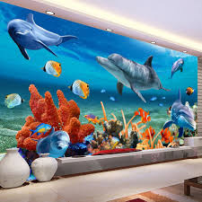 popular aquarium wall paper buy cheap aquarium wall paper lots custom 3d mural wallpaper for kids underwater dolphin fish wall paper aquarium wall background room decor
