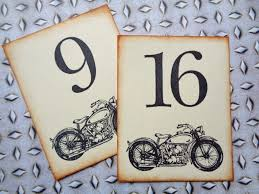 what size are table number cards vintage motorcycle wedding table number cards birthday party table
