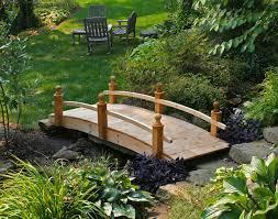Backyard Bridge Wooden Bridge Set Over Small Water In Your Greenery Garden Part